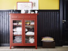 IKEA Fan Favorite: HEMNES linen cabinet. Made of solid wood with adjustable shelves, smooth running drawers, and a beautiful red color, it's not hard to see why this is a fan favorite!