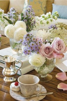 Gorgeous flowers and tea!!
