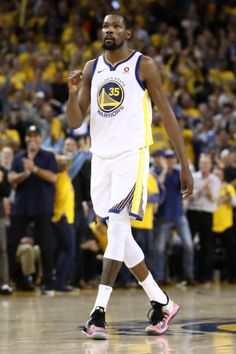 891cba8beb9 Kevin Durant of the Golden State Warriors reacts in overtime against the  Cleveland Cavaliers during Game