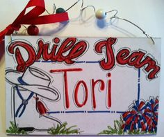 Hand personalized drill team sign by pinkfishstudios on Etsy, $12.95