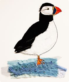 puffin... by sarah chatterton (lotus blossom) : textile art