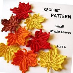 "Crochet Flowers Design This pattern is for a Small Maple Leaf. This leaf is approximately "" x - This pattern is for a Small Maple Leaf. Crochet Kawaii, Love Crochet, Diy Crochet, Crochet Crafts, Yarn Crafts, Crochet Projects, Single Crochet, Cotton Crochet, How To Crochet"