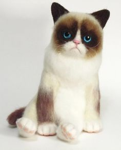 Needle Felted Toy Grumpy Cat  Tard Miniature Wool by Happyvoilok, $200.00