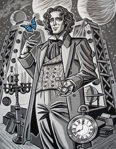 Finished Eighth Doctor. (Butterfly Eight.)Lord Byron in spaaaaace!(I remembered to change the date on the clock to 2015 this time. :P)