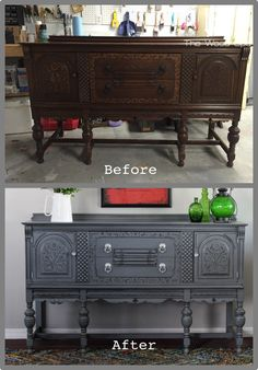 a gray buffet with a surprise on the inside, how to, painted furniture Repainting Furniture, Chalk Paint Furniture, Refurbished Furniture, Repurposed Furniture, Furniture Projects, Furniture Making, Furniture Makeover, Vintage Furniture, Home Furniture