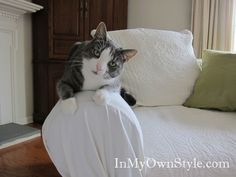 How To Put a Tie Arm Loose Fit Slipcover on a Sofa and Make It Look Custom Made