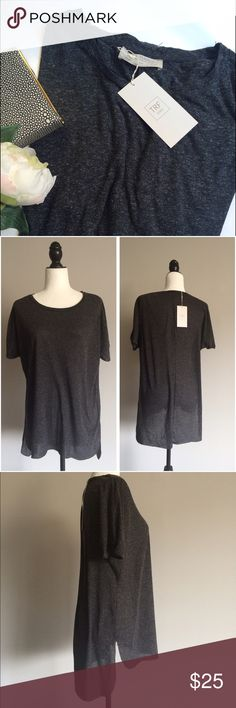 NWT ZARA TRF high and low t-shirt A simple cut gray tee from Zara TRF, new condition, with tags on. Great to pair with leggings or jeans, soft light fabric made of 85%polyester and 15%linen. Length: on the high side 27, on the low side 30 inches. Measured flat across: under armpit 23,5 inches, waist 21 inches. Pretty! Zara Tops Tees - Short Sleeve