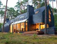 Inspired by the clients' love of Blues music, Studija Archispektras built an airy black and glass home called Black House Blues that is nestled in a lush forest in Lithuania.