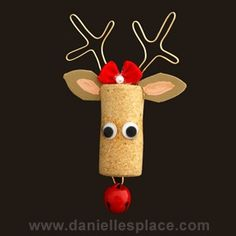 cork reindeer pin Christmas craft for kids