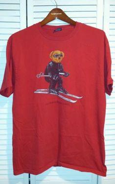 Vintage polo ralph lauren stadium p wing indian 1992 bear t shirt size L.