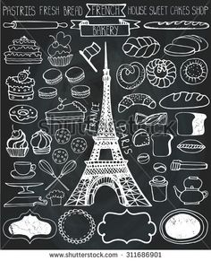 Doodle vector.French Bakery,Cakes,dessert,bread pastries  icons set with Eiffel tower.Chalkboard Linear vintage elements for logo,label,menu,cafe shop.Hand drawn isolated items.Isolated collection