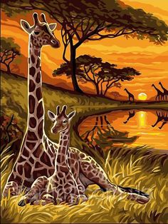 MailingArt Paint by Number Kits Canvas Painting - Colorful Life (Giraffe) African Artwork, African Art Paintings, Animal Paintings, Giraffe Pictures, Art Pictures, Afrique Art, Giraffe Art, African American Art, Art And Illustration