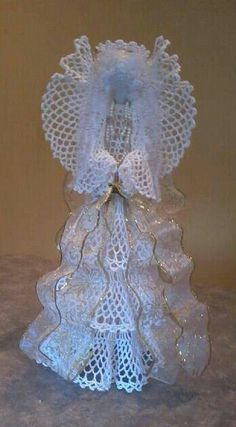 Angel design inspired by a Victorian Lady figurine. Crochet Angel Pattern, Crochet Angels, Christmas Angels, Christmas Crafts, Christmas Decorations, Angel Ornaments, Handmade Ornaments, Thread Crochet, Crochet Doilies