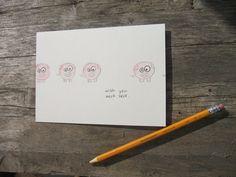 Cute handmade pig postcards - 5x7 - watercolor. $1.00, via Etsy.