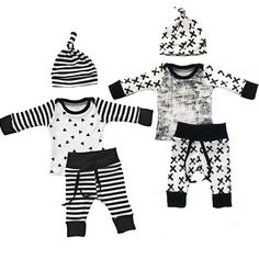3 Piece Baby Boy Hipster Outfit with Knot Hat, Black and White, 2 Styles