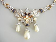 Vtg 1940 Trifari Pearl Enamel Rhinestone Necklace Alfred Philippe Sold for $ 169