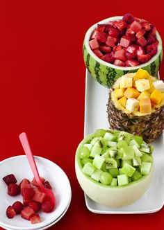 Step up your fruit salad this year by serving cubes of fruit in color-coordinated fruit bowls. Place honeydew, kiwi, green apples and grapes in a hollowed-out honeydew; pineapple, mango, papaya and banana in a pineapple shell; and raspberries, strawberries and watermelon in a small watermelon