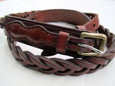 Vintage braided ranger style belt / Brown by SandrasCornerStore