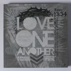 Love One Another Gray Large Box Print Wall Art Made In The USA