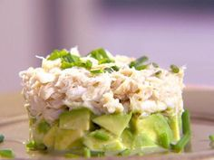 Crab and Avocado Duet - with baked bread chips and possibly a salad underneath - need to try