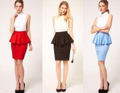 Look Asos Peplum Skirts by Nonfashionista Corporate Fashion, Corporate Style, Office Fashion, Business Attire, Business Outfits, Dress Skirt, Peplum Dress, Peplum Skirts, Elle Blogs