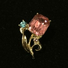 Vintage flower brooch Sweet little sparkles. Pink and blue rhinestones. Jewelry Brooches