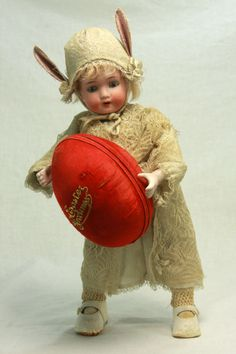 Antique German Mechanical Wind Up Easter Doll with Egg Candy Container c1915