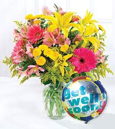 A great combination of flower arrangement and Get Well Balloon to wish someone Get Well Soon....