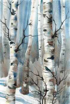 New Daily painting Krähen im Winter Aspen Trees von wintercalm - Aquarell Watercolor Trees, Watercolor Landscape, Landscape Art, Landscape Paintings, Watercolor Paintings, Landscapes, Watercolor Water, Acrylic Paintings, Mountains Watercolor
