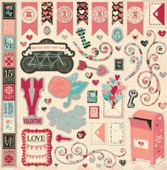 Bo Bunny - Love Letters Collection - 12x12 Chipboard