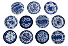 "Indigo Plates, Set of 11 on OneKingsLane.co $335.   2-11-14    size  7"" x 7 """