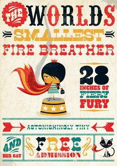 world's smallest fire breather... Circus Illustration
