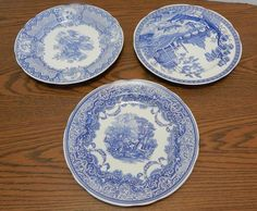 "THREE Spode Blue Room 10 ½"" Plates: Seasons, Continental Views, Rome ENGLAND EUC"
