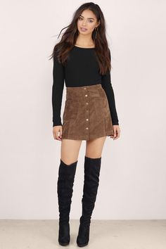 American Woman Faux Suede Skirt at Tobi.com #shoptobi