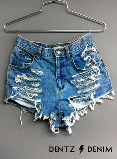 This amazing woman Carolyn Dentz makes tons of unique high waisted denim shorts and sales them on Etsy. You can actually fill out your exact hip and waist measurements so that she makes you the perfect fit. Pretty cool! $35-$55(dentz denim)
