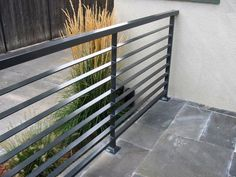 Gallery of modern patio railing exterior railings toronto deck metal uk - exterior railing design Steel Grill Design, Steel Railing Design, Modern Railing, Metal Railings, Metal Fence, Horizontal Deck Railing, Fence Stain, Bamboo Fence, Wooden Fence