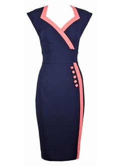 How Beautiful. Via Outblush.    Hybrid Navy & Coral Ethel Pencil Fit Button Dress
