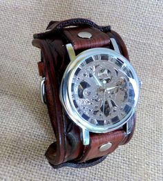 Men's leather watch Skeleton wrist watch by ForeverSignature