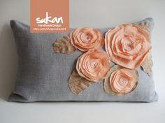 Sukan / Salmon, Coral Red, Pinkish Orange Flowers Gray Linen Pillow Cover Decorator Pillow Cover Lumbar Pillow Cover- 12x20