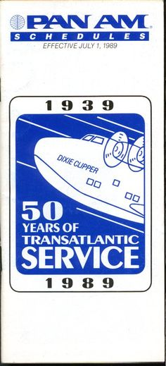 Pan Am timetable - July 1989.