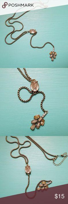 Bronze Rhinestone Lariat Necklace NWT Hey Doll Bronze Rhinestone Lariat Necklace Hey Doll Jewelry Necklaces