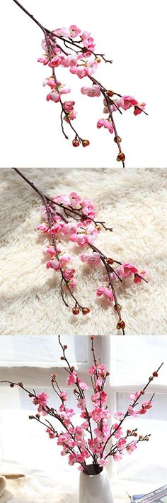 Artificial Flowers Clearance, Paymenow Fake Flowers Plum Blossom Floral Bouquet Home Garden Office Dining Table Wedding Decor (Pink)
