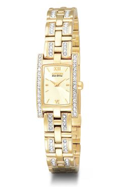 Women s Citizen Eco Drive  Silhouette Crystal  Watch with Swarovski  Crystals in Stainless Steel Gold Tone aea3811e76