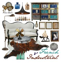 """Vintage Time"" by ladomna ❤ liked on Polyvore featuring interior, interiors, interior design, home, home decor, interior decorating, Uttermost, Cal Lighting, Nuevo and Torre & Tagus"