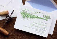 Letterpress Wedding Invitation - SAMPLE - Vineyard, California Wine Country