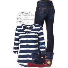 A fashion look from January 2015 featuring striped top, stitch shirt and hudson bootcut jeans. Browse and shop related looks.