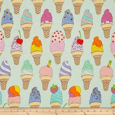 Alexander Henry Boardwalk Soft Serve Mint from @fabricdotcom  Designed by the De Leon Design Group for Alexander Henry, this cotton print fabric will keep you cool during the summer, not to mention, it's delicious! Perfect for quilting, apparel and home decor accents. Colors include white, black, tan, light tan, shades of pink and blue, yellow, mint, light mint, green, red, lavender, orange and magenta.