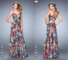La Femme Prom style - 22355 long prom dress - patterned prom dress - formal dress - bridesmaids dress - unique dress - open back - abstract Simple Bridesmaid Dresses, Unique Dresses, Bat Mitzvah Dresses, Dress Outfits, Fashion Dresses, Simple Gowns, African Print Dresses, Lace Dress, Prom Dress