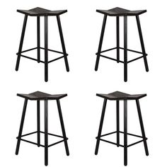 Set of Four Black Mitre Counter Stools from Souda | From a unique collection of antique and modern stools at https://www.1stdibs.com/furniture/seating/stools/