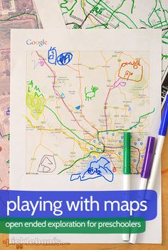 My three year old has loved playing with maps in an open-ended exploration sparked by his ideas and interests.